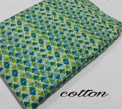 Cotton printed running fabric_Green Blue Triangle