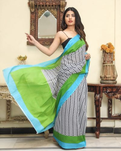 Jaipuri Hand Block Printed Cotton Saree with Blouse -Design2