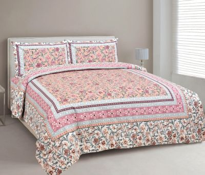 Hand Block printed  Cotton Bedsheet with pillow cover-Design 5