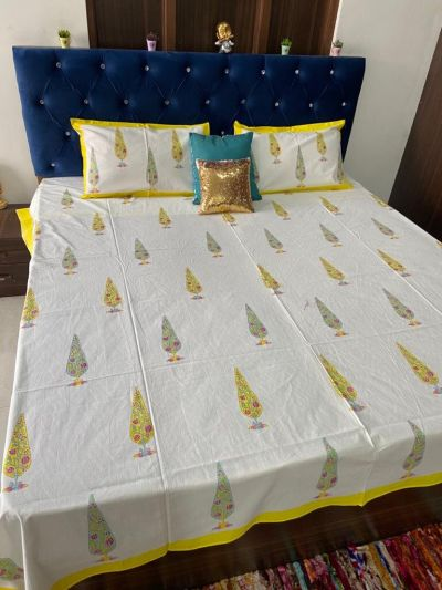 Pure cotton hand block printed double bedsheets