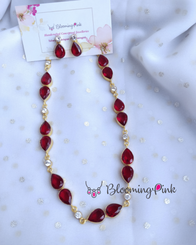Double Drips Necklace-Maroon