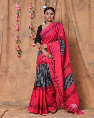 Jaipuri Hand Block Printed Cotton Saree with Blouse -Design1