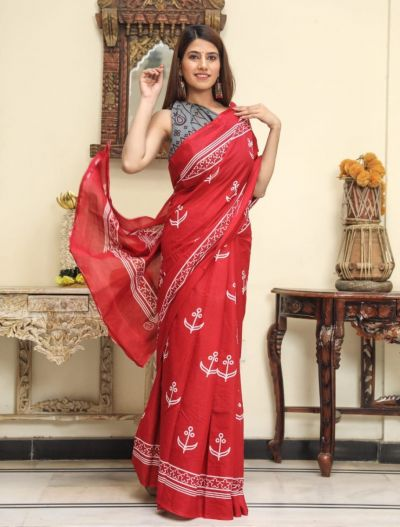Jaipuri Hand Block Printed Cotton Saree with Blouse -Design3