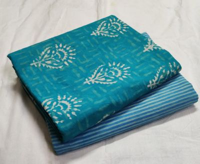 Exclusive Hand block print pure cotton Running fabric -Top+Bottom_Blue