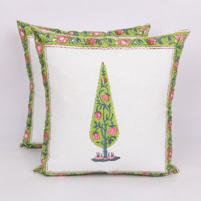 Hand Block Printed Cushion Cover 2pc Set 16 inches -Design2