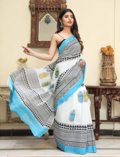 Jaipuri Hand Block Printed Cotton Saree with Blouse -Design5