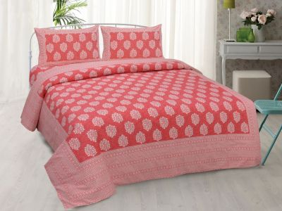 Hand Block printed  Cotton Bedsheet with pillow cover-Design 6