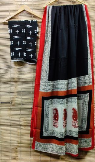 Jaipuri Hand Block Printed Cotton Saree with Blouse -Design8