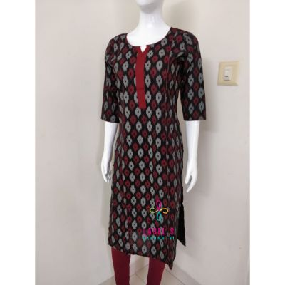 Ikkat Printed Kurti -Black and Maroon
