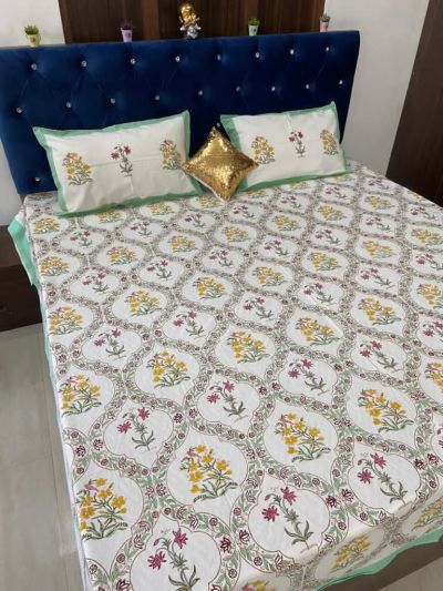Pure cotton hand block printed double bedsheets-Design 2