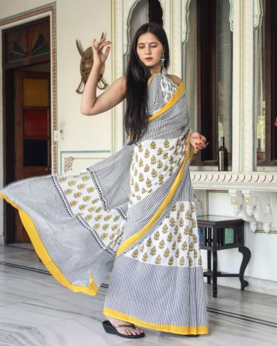 Jaipuri Hand Block Printed Cotton Saree with Blouse -Design7