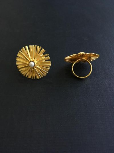 Contemporary Ring_Golden with White-2