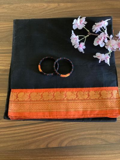 Pure cotton Saree_Black and Orange