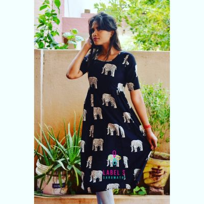 Printed cotton dress_Elephant print