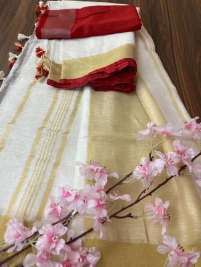 Pure Linen saree_with blouse_white and Red border