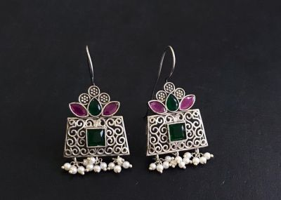 Silver Look A like Earrings_Pink and Green Stone