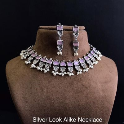 Silver Look Alike Necklace_Light Pink