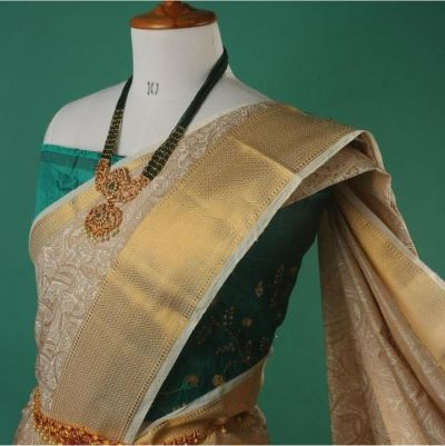 Dupion Tussar Silk Saree_Off white with embosed design