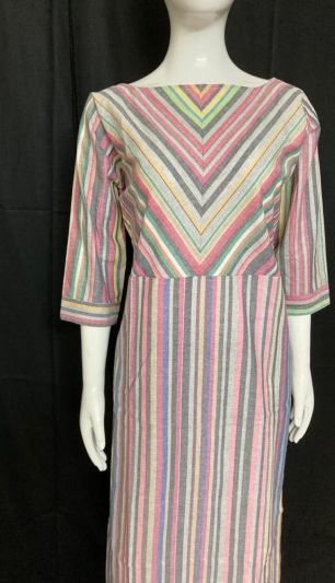 Handloom Cotton Kurti_Multicolour Stripes
