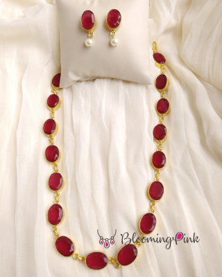 Bia Necklace Set-Maroon