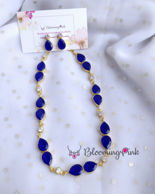 Double Drips Necklace-Blue