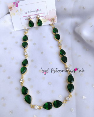 Double Drips Necklace-Green