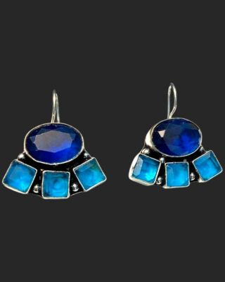 Oxidized earring with stone_Blue