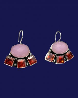 Oxidized earring with stone_Pink & Red